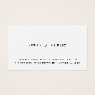 Professional Simple White Business Card at Zazzle