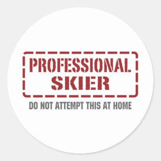 Professional Skier Round Sticker