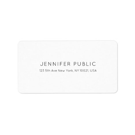 Professional Stylish Minimalist White Plain Modern Label