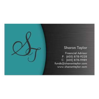 Professional Teal Metal Business Card Financial