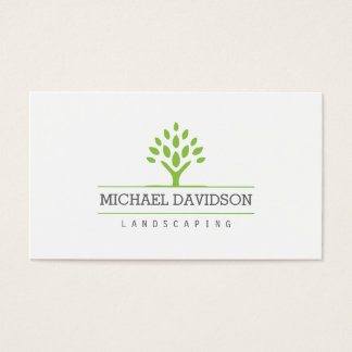 Professional Tree Landscaping White Business Card