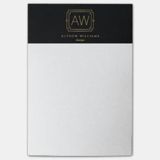 Professional Vintage Art Deco Elegant Black/Gold Post-it® Notes