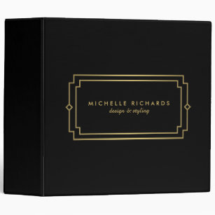 professional vintage art deco elegant gold black 3 ring binder