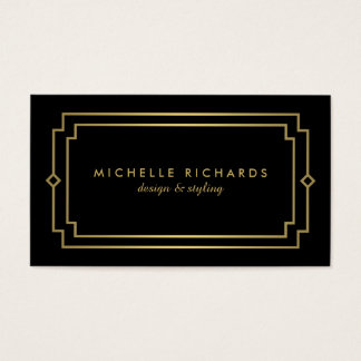 Professional Vintage Art Deco Elegant Gold, Black Business Card