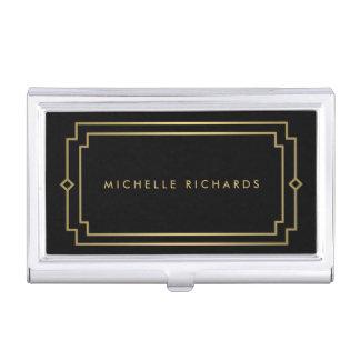 Professional Vintage Art Deco Elegant Gold, Black Business Card Case