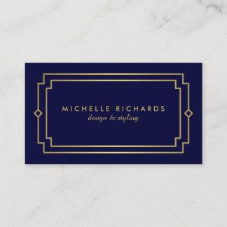 Professional Vintage Art Deco Elegant Gold, Navy Business Card