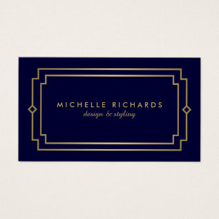 Professional Vintage Art Deco Elegant Gold, Navy Business Card at Zazzle