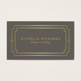Professional Vintage Art Deco Elegant Gold, Taupe Business Card