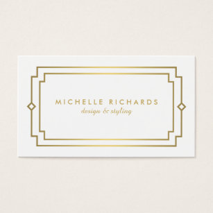 Art deco business cards templates zazzle professional vintage art deco elegant gold white business card reheart Gallery