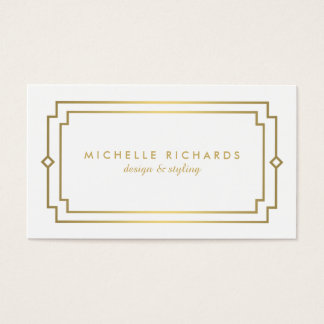 Professional Vintage Art Deco Elegant Gold, White Business Card