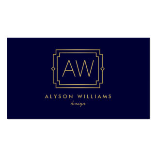 Professional Vintage Art Deco Elegant Navy/Gold Double-Sided Standard Business Cards (Pack Of 100)