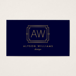 Professional Vintage Art Deco Elegant Navy/Gold Business Card