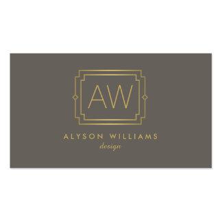 Professional Vintage Art Deco Elegant Taupe/Gold Business Card