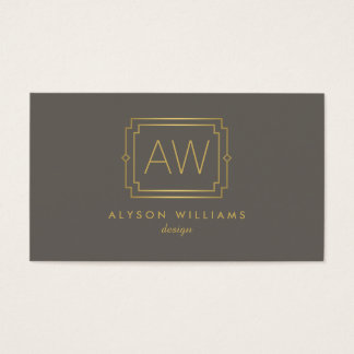 Professional Vintage Art Deco Elegant Taupe/Gold Business Card