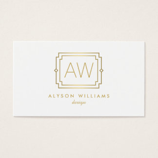Professional Vintage Art Deco Elegant White/Gold Business Card