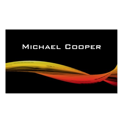 Professional Wave Business Card Red Yellow
