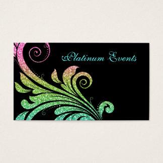 Professional Wedding Elegant Glitter Leaf Swirl Business Card