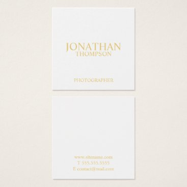 manadesignco Professional White and Gold Square Business Card