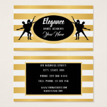 Professional White, Black and Gold Dance Academy Business Card