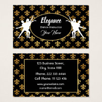 Professional White Black and Gold Dance Instructer Business Card