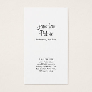 Professional White Elegant Modern Simple Plain Business Card