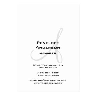 Professional White Gray Monogram Plain Large Business Card