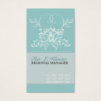 Professional White Lotus Pale Teal  Purity Flowers Business Card