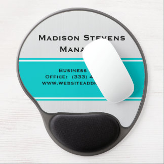 Professional White Pinstripes Teal Gel Mouse Pad