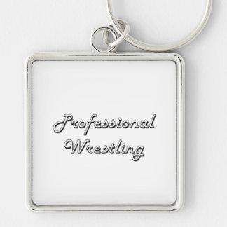 Professional Wrestling Classic Retro Design Silver-Colored Square Keychain