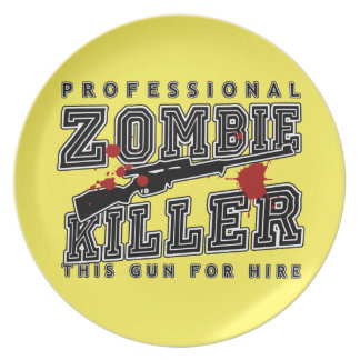 Professional Zombie Killer Melamine Plate