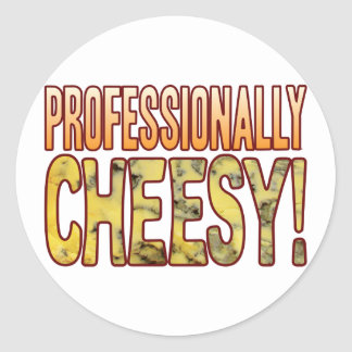 Professionally Blue Cheesy Classic Round Sticker