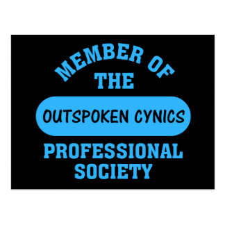 Professionally certified outspoken cynic for hire postcard