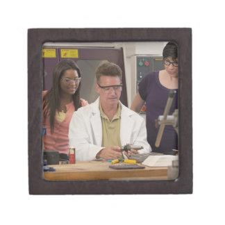 Professor demonstrating the tool holder from the keepsake box