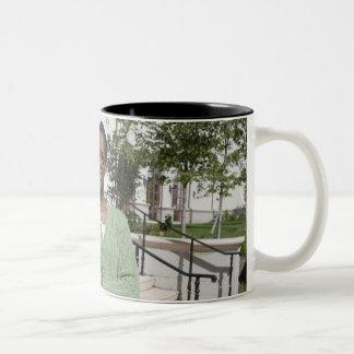Professor on campus Two-Tone coffee mug