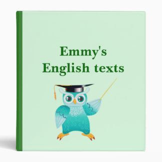 Professor Owl English   alphabet 3 Ring Binder