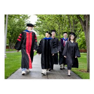 Professors and students walking to graduation postcard