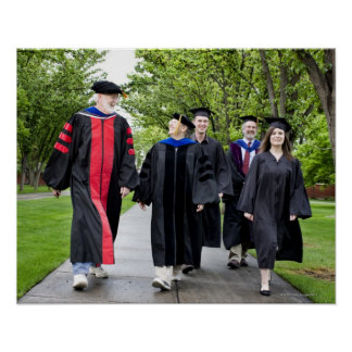 Professors and students walking to graduation poster