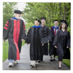 Professors and students walking to graduation large square tile