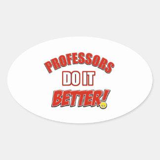 Professors job designs oval sticker