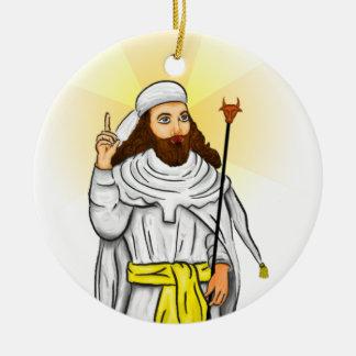Profeta de los ornamentos del día de fiesta de adorno navideño redondo de cerámica