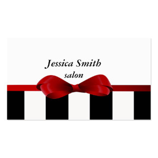 Proffesional elegant gentle stripes red bow business card
