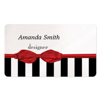 Proffesional elegant red bow stripes business cards