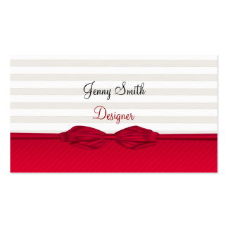 Proffesional elegant red bow stripes business card