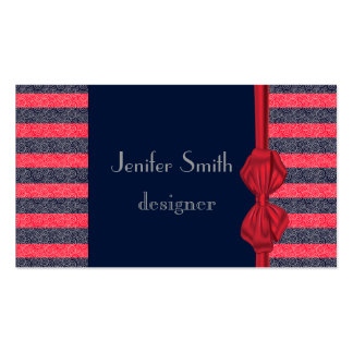 Proffesional elegant red bow stripes business card template