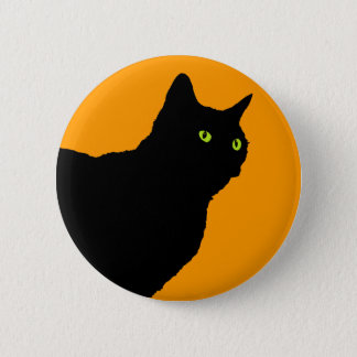 Profile Black Cat on Orange Button