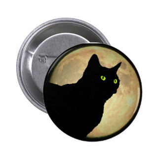 Profile Black Cat Silhouette  and Moon 2 Inch Round Button