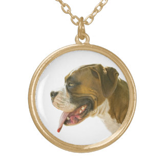Profile Boxer Dog Necklace