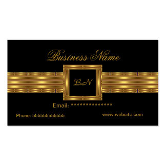 Profile Business Card Gold Monogram Black Business Card