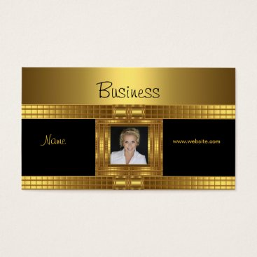 Professional Business Profile Business Card Gold on Gold Black Add Photo
