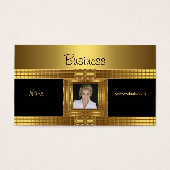Profile Business Card Gold on Gold Black Add Photo